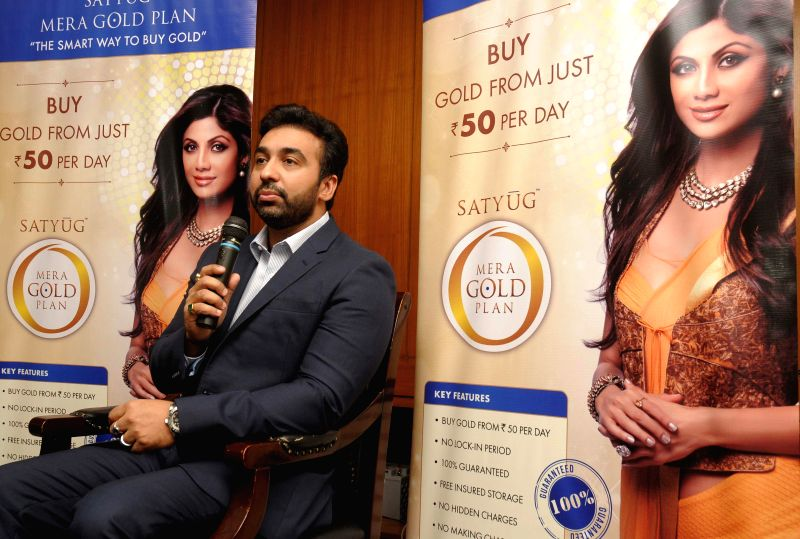 Satyug Gold CEO Raj Kundra during a press conference  in Hyderabad on Aug 21, 2014. - Raj Kundra