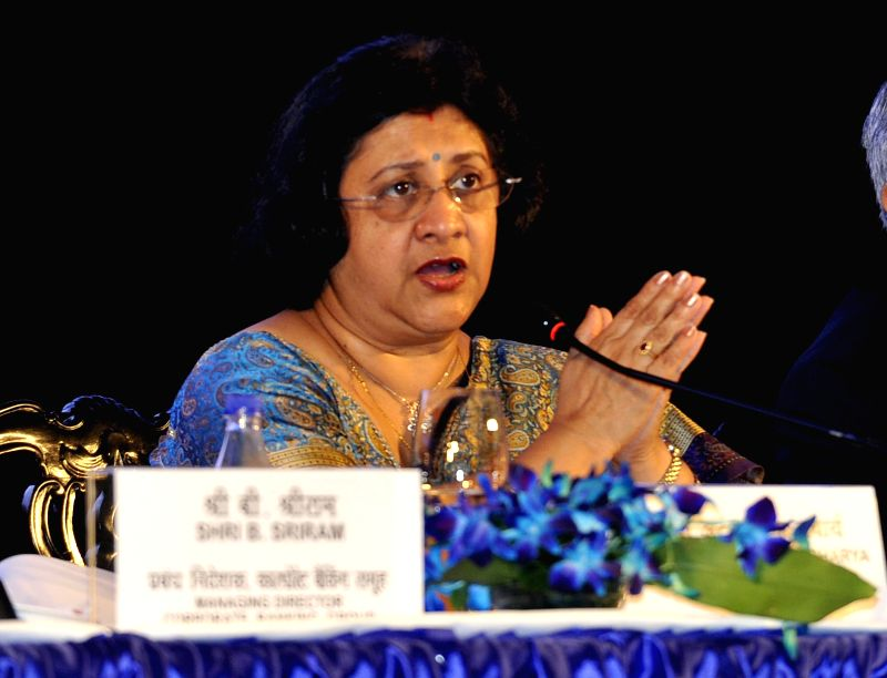 SBI Chairman Arundhati Bhattacharya addresses a press conference in Kolkata, on May 27, 2016.