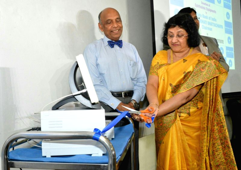 SBI chairman Arundhati Bhattacharya during the inauguration of medical equipment donated for treatment of non-paying patients through SBI CSR initiative to LV Prasad Eye Institute, in ...