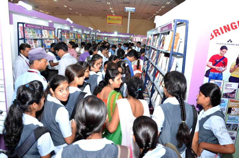 School students at 20th Delhi Book Fair in New Delhi on Aug 28, 2014.