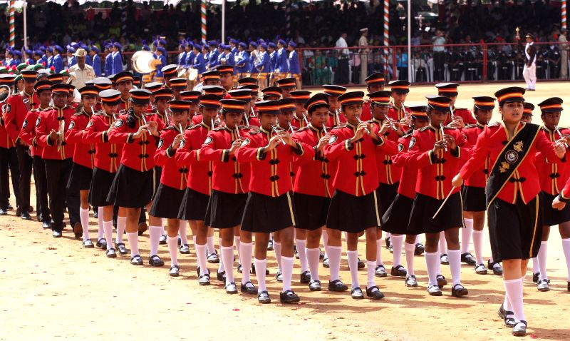 School students  during 68th Independence Day Parade at Manekshaw Parade Grounds in Bangalore on Aug 15, 2014.