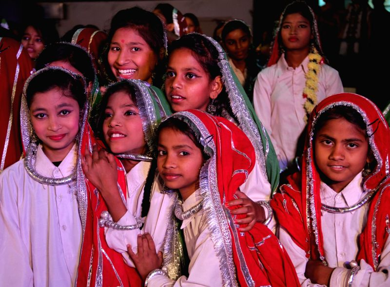 School students during a programme organised by Education department of NDMC at Talkatora Stadium in New Delhi on April 29, 2014.