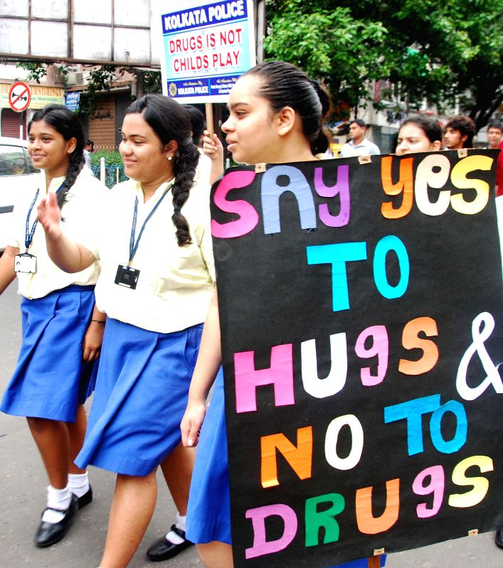 School students participate in 'A Walk for Anti Drug Movement' in Kolkata on June 24, 2014.