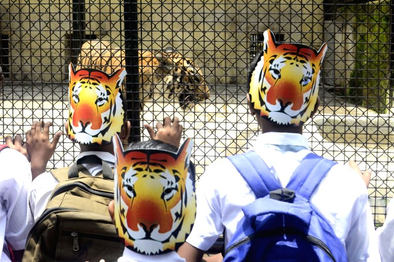 School students participate in an awareness rally on tiger conservation at Alipore Zoological Gardens, in Kolkata on July 30, 2018.