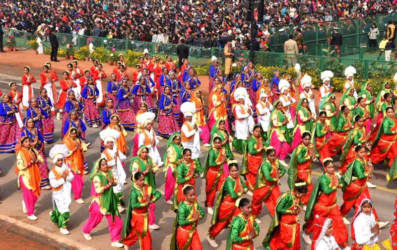 School students participate in Republic Day Parade 2018 on Rajpath in New Delhi Jan 26, 2018.