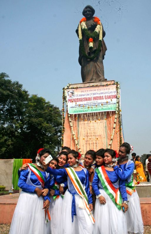School students perform during a programme organised on  Prime Minister Indira Gandhi's 98th birth anniversary in Kolkata, on Nov 19, 2015.