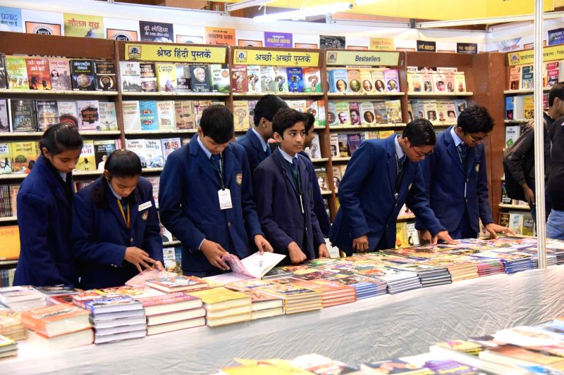 School students visit book fair in Patna on Dec 7, 2017.