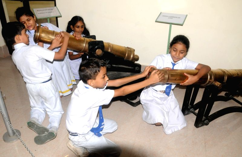 School students visit the newly inaugurated Cossipore Gun and Shell Museum in Kolkata on July 27, 2018.