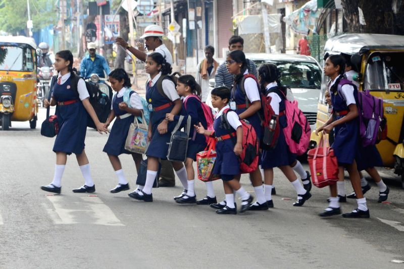 Schools re-open after summer vacations in Hyderabad, on June 13, 2017.