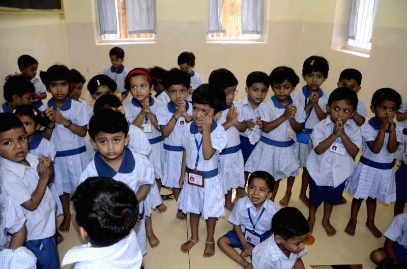 Schools reopen after summer vacation in Mumbai on June 16, 2014.