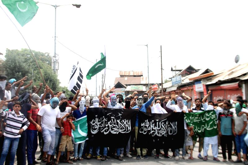 Scores of protesters took to the streets in old city soon after the curfew was partially lifted in Srinagar on July 26, 2016.