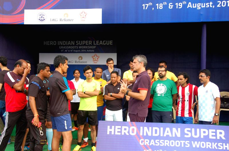 Scott O'Donnell, Technical Director-Academies and Director Coach Education at AIFF interacts with the Hero ISL club's grassroots development officers on first day of the three-day long grassroots ...