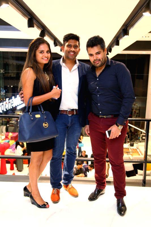Sean Parmeshwara, Pradeep Sekar and Anusha during Roche Bobois store launch in Bangalore on Nov 28, 2015.