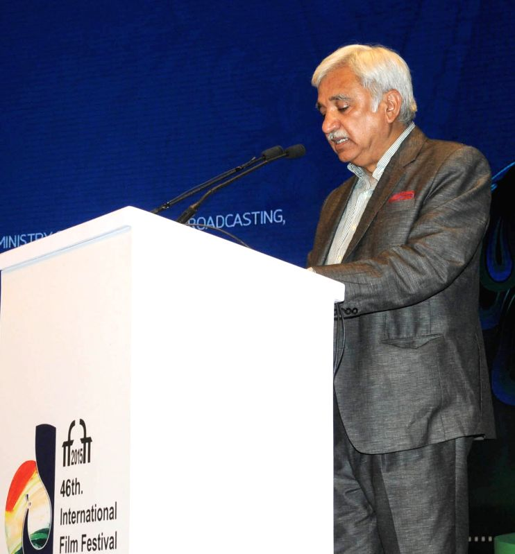 Secretary, Ministry of Information and Broadcasting Sunil Arora addresses at the inauguration of the 46th International Film Festival of India (IFFI-2015), in Panaji, Goa on Nov 20, 2015. - Sunil Arora