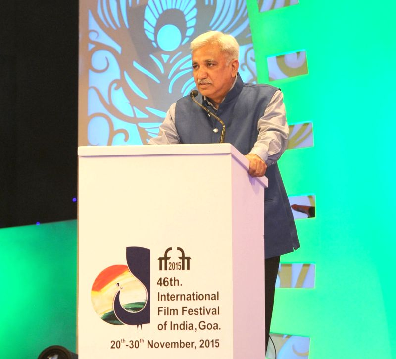 Secretary, Ministry of Information and Broadcasting Sunil Arora addresses at the closing ceremony of the 46th International Film Festival of India (IFFI-2015), in Panaji, Goa on Nov 30, 2015. - Sunil Arora