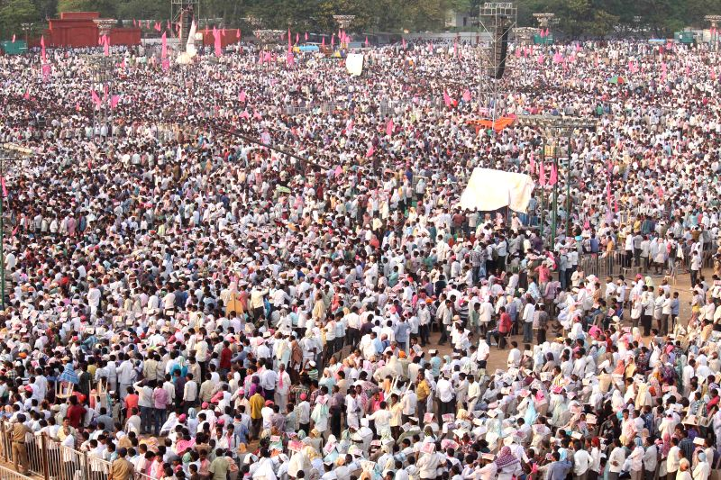 People in large numbers participate in the TRS rally at Parade Ground, Secunderabad on April 27, 2015.