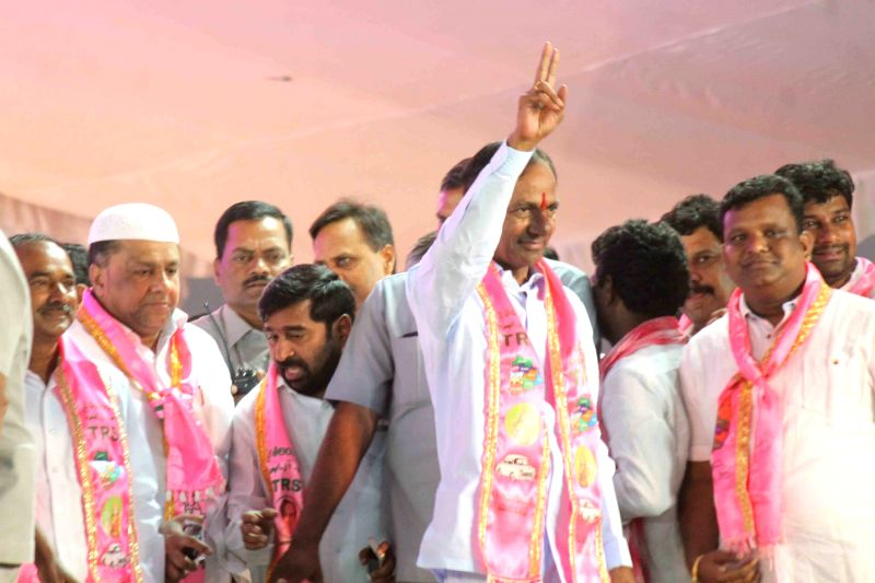Telangana Chief Minister and Telangana Rashtra Samithi (TRS) chief K Chandrasekhar Rao and others during a TRS rally at Parade Ground, Secunderabad on April 27, 2015. - K Chandrasekhar Rao