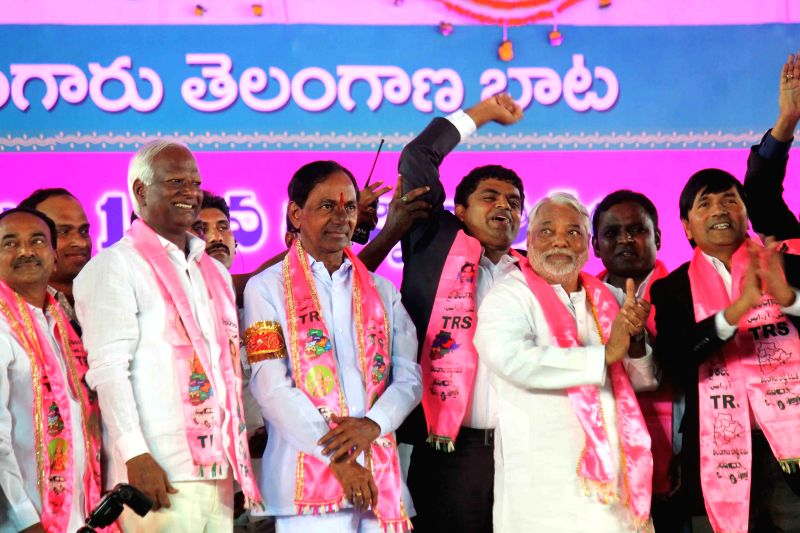 Telangana Chief Minister and Telangana Rashtra Samithi (TRS) chief K Chandrasekhar Rao, TRS Secretary General K Keshav Rao and others during a TRS rally at Parade Ground, Secunderabad ... - K Chandrasekhar Rao