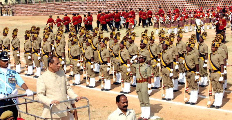 Telangana Governor ESL Narasimhan inspects guard of honour at  during Republic Day celebrations at Secunderabad Parade Ground on Jan 26, 2015.