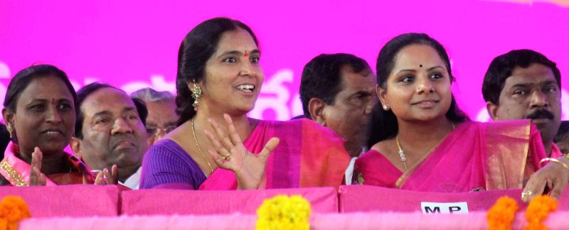 TRS MP from Nizamabad K. Kavita during a TRS rally at Parade Ground, Secunderabad on April 27, 2015.