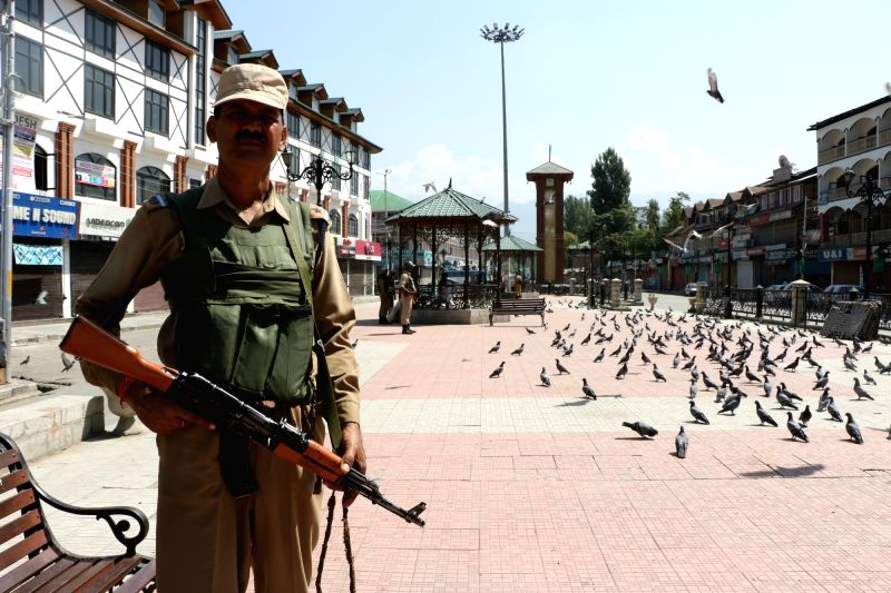 Security beefed up after a complete shutdown has been called by the joint resistance leadership (JRF) to protect Article 35A that gives special rights to Jammu and Kashmir on Aug 12, 2017.