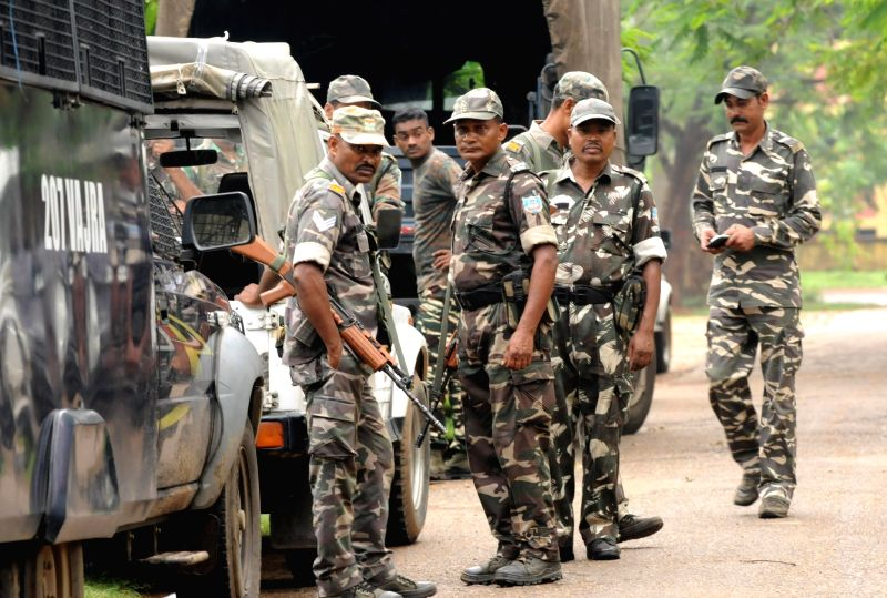 Security beefed up after a CRPF trooper and a Jharkhand policeman were killed during a shootout with Maoists in Khuti district; in Ranchi on June 7, 2018.