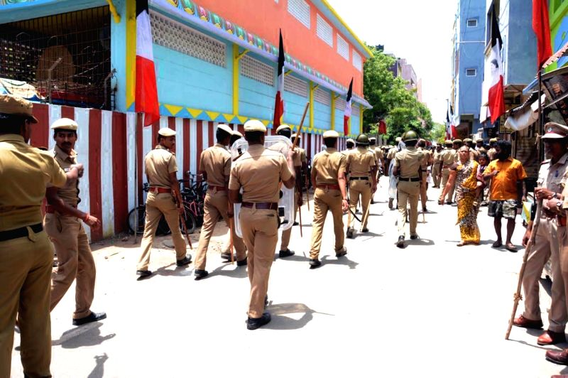 Security beefed up after the convoy of Amma Makkal Munnetra Kazhagam leader T. T. V. Dhinakaran was stopped from entering RK Nagar and stones were pelted allegedly by unidentified people ...