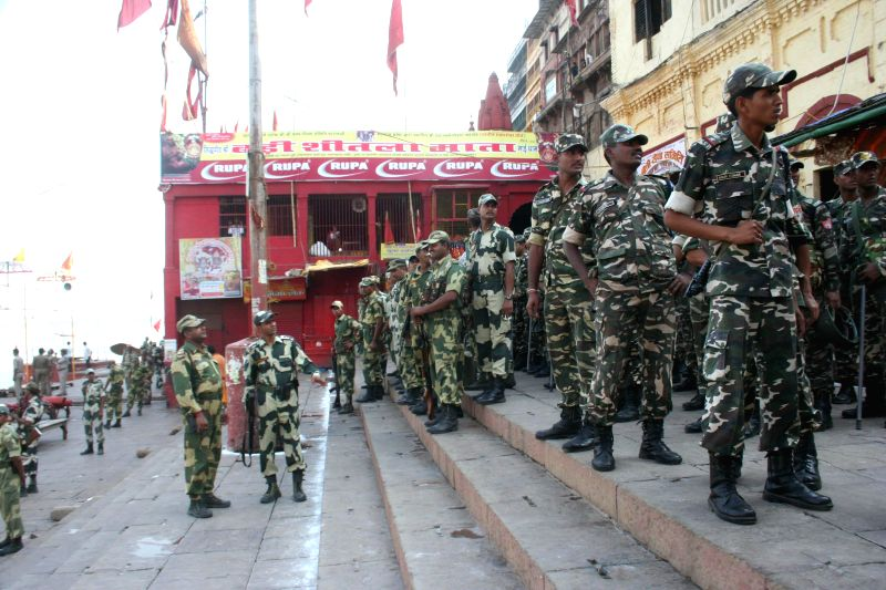 Security beefed-up at Dasaswamedh ghat where BJP Prime Ministerial candidate Narendra Modi is set to participate in Ganga-aarti  in Varanasi on May 17, 2014. - Narendra Modi