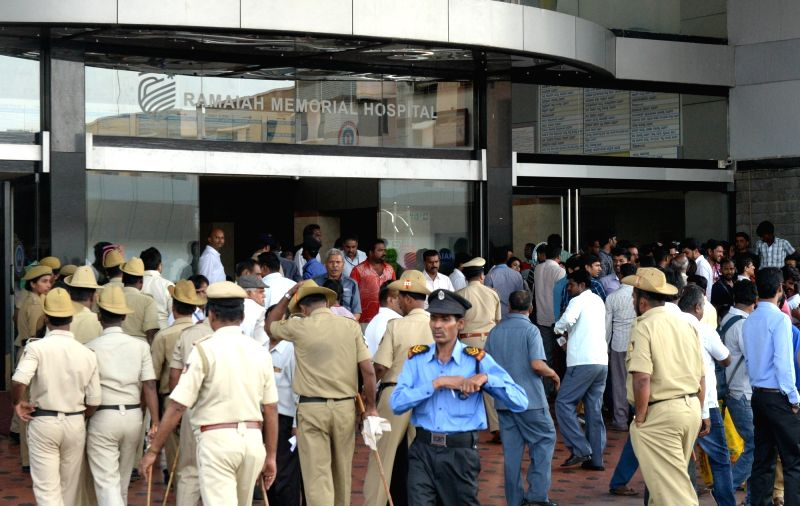 Security beefed up at the hospital where film producer Parvathamma Rajkumar is admitted in Bengaluru on May 18, 2017.