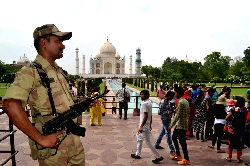 Security beefed-up at the Taj Mahal in Agra on June 13, 2017.