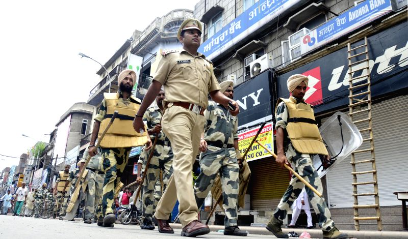 Security beefed-up in Amritsar in light of a strike called by Hindu organisations on July 21, 2014.