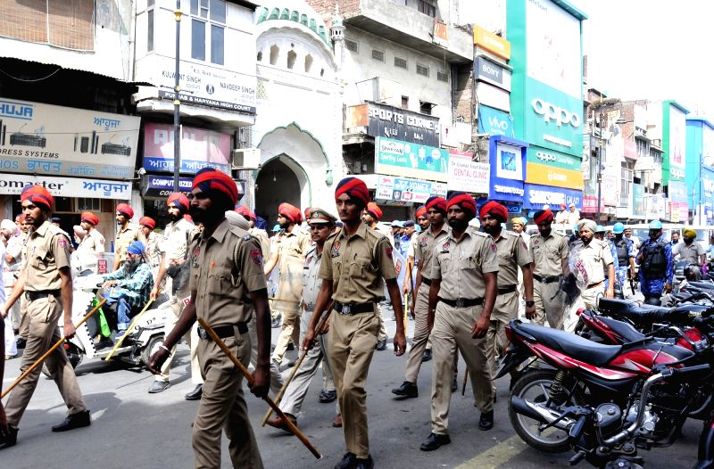 Security beefed up in Amritsar on the eve of anniversary of Operation Bluestar in Amritsar, on June 5, 2017.