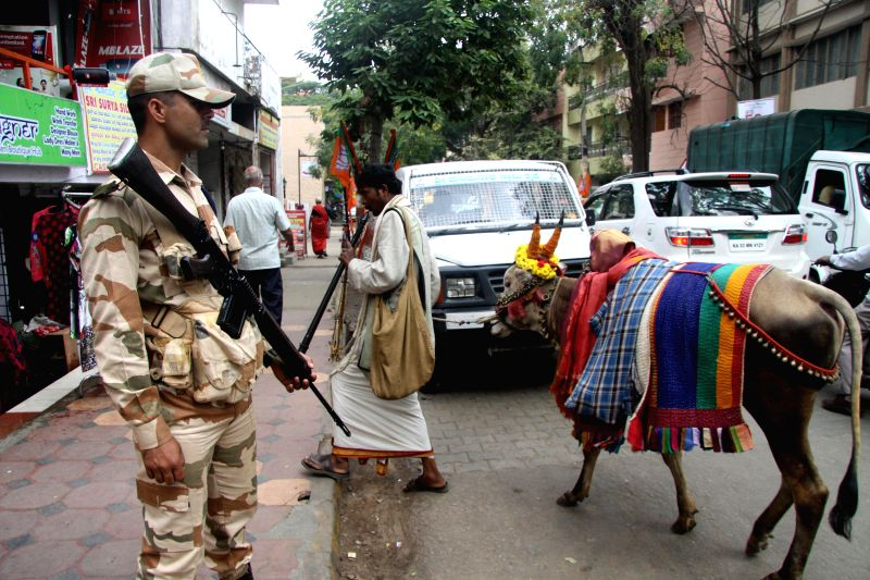Security beefed up in Bengaluru ahead of BJP chief Amit Shah's visit to the city, on Jan 2, 2015.