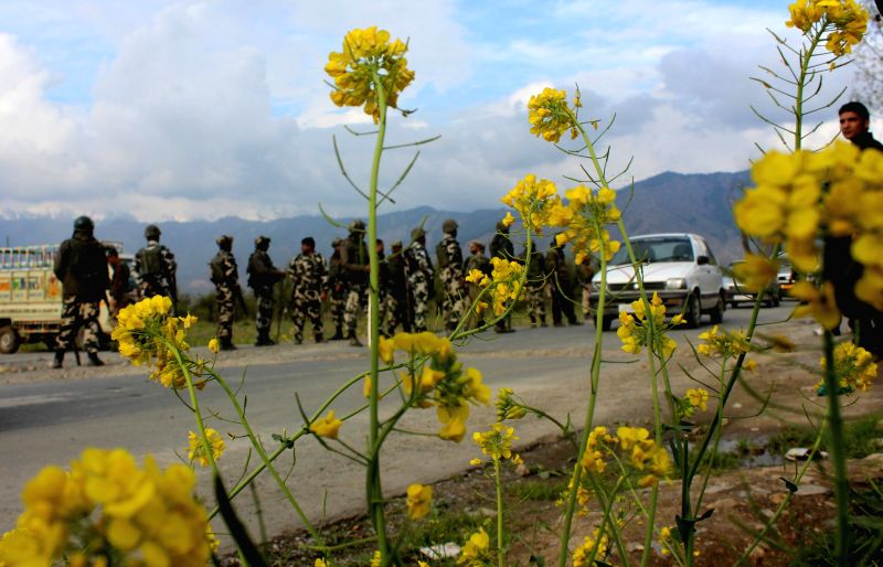 Security beefed-up in Khrew of Jammu and Kashmir after recent militant attacks in Kashmir valley on April 15, 2014.