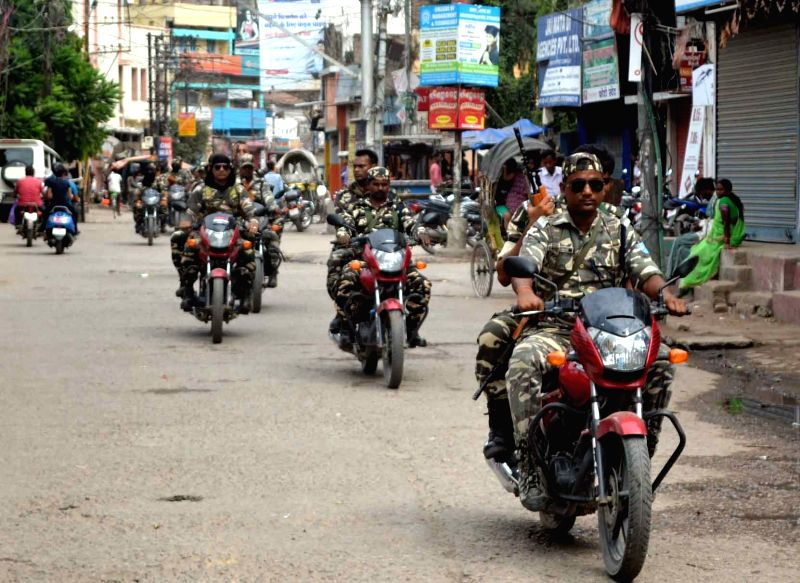 Security beefed up in Muzaffarpur of Bihar during a strike called by RJD-Congress against rising incidents of crime in the state on July 21, 2018.