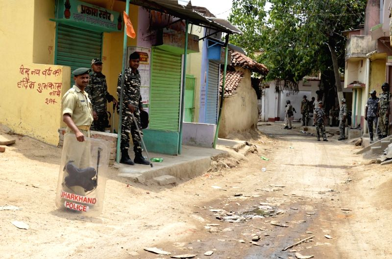Security beefed up in Sukurhutu village near Kanke block in Ranchi after two groups clashed with each other on June 6, 2017.