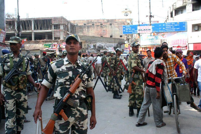 Security beefed-up in Varanasi ahead of BJP Prime Ministerial candidate Narendra Modi visit on May 17, 2014. - Narendra Modi