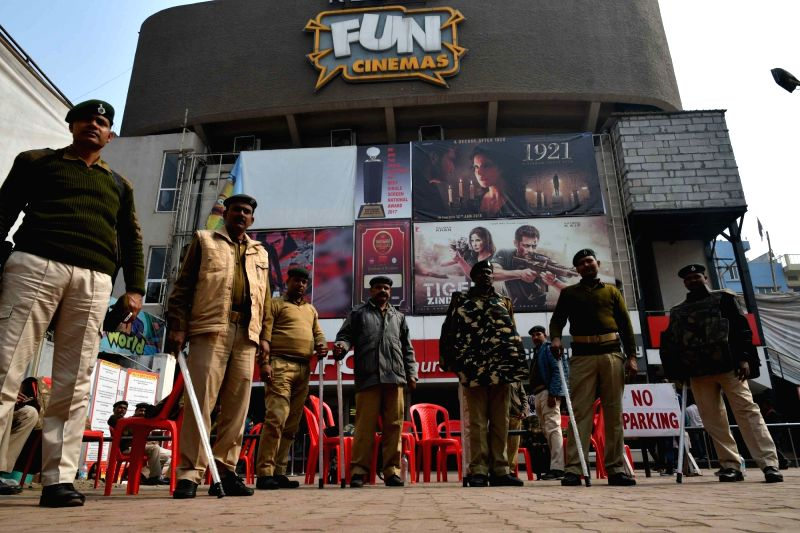 "Security beefed up outside a cinema hall in Patna on Jan 29, 2018. Cinema halls began screening Bollywood movie ""Padmaavat"" on in Bihar capital a day after two petrol bombs were ..."