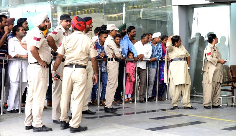 Security beefed-up outside at Amritsar airport after an unclaimed bag was found at the international airport from SpiceJet's Dubai-Amritsar flight in Amritsar on July 21, 2016.