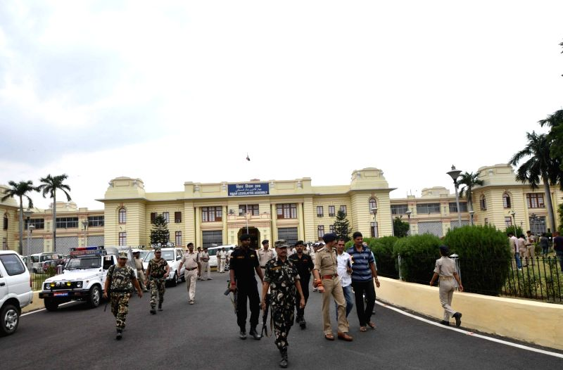 Security beefed-up outside Bihar Assembly ahead of monsoon session in Patna on July 18, 2018.