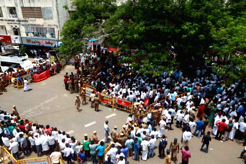 Security beefed up outside the Kauvery Hospital where DMK President M. Karunanidhi is admitted, in Chennai, on July 30, 2018.