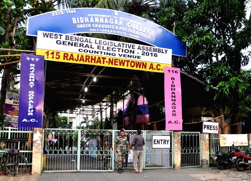 Security beefed up outside the venue of West Bengal Assembly poll counting in Kolkata, on May 18, 2016.