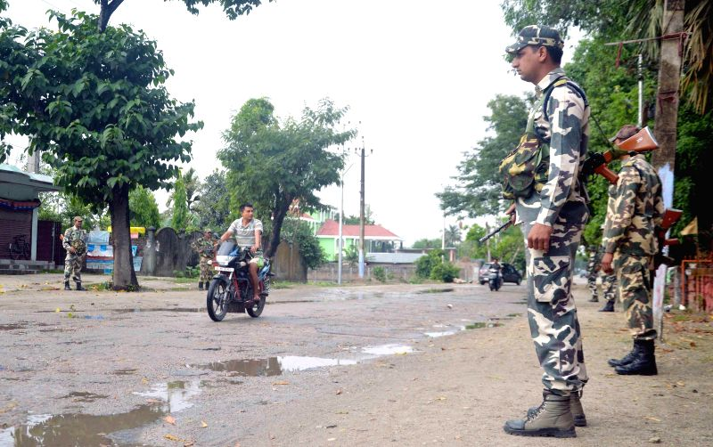 Security forces deployed in trouble torn areas of BTAD after violence hit the area resulting in killing of over 30 people in Kokrajhar and Baksa districts of BTAD areas, in Kokrajhar on May 3, 2014.