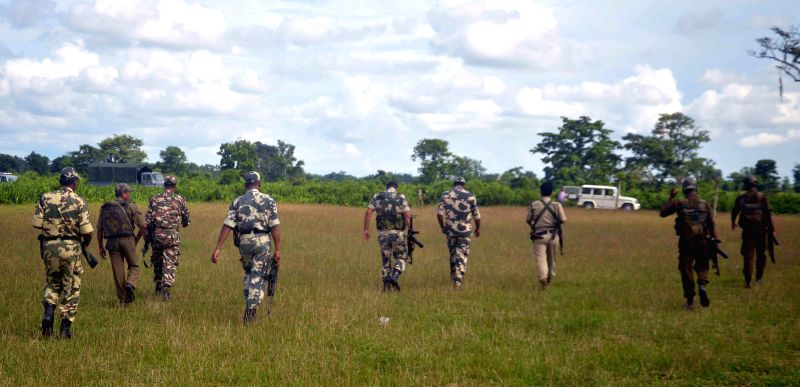 Security forces visit the encounter site where a platoon of NDFB (S) cadres had earlier displayed their weapon strength to mediapersons in a forest near Auzarguri under Serfanguri Police station in ..