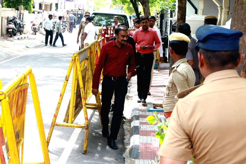 Security personnel beefed up outside DMK President M. Karunanidhi residence at his Gopalapuram residence, in Chennai, on July 27, 2018. M. Karunanidhi (94) is suffering from urinary tract ...
