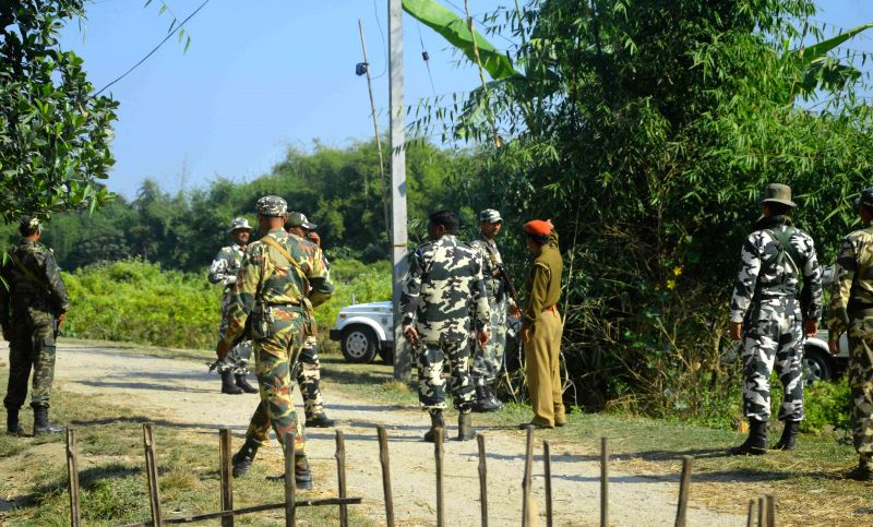 Security personnel deployed after six persons, including two minors were killed on 1st May, 2014 by unidentified gunmen, suspected to be members of Songbijit faction of National Democratic Front of ..