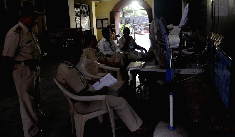 Security personnel deployed at a counting centre in Mumbai on May 16, 2014.