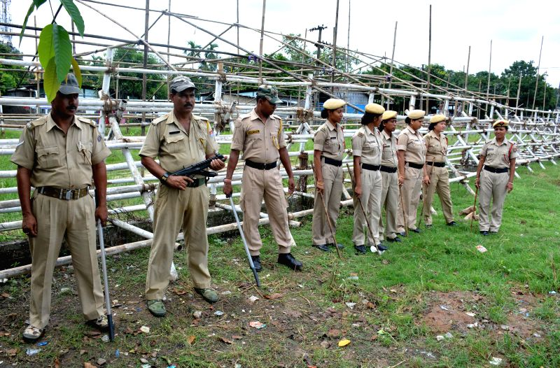 Security personnel deployed at Dispur Last Gate in front of Assam Legislative Assembly in wake of several scheduled demonstrations on the eve of Budget sessions in Guwahati on Aug 3, 2014.