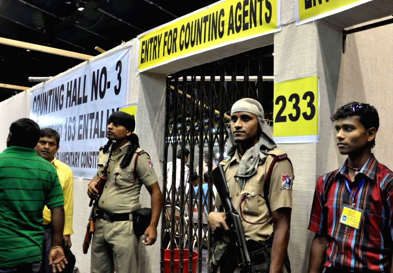Security personnel deployed at Netaji Indoor Stadium counting centre in Kolkata on May 16, 2014.