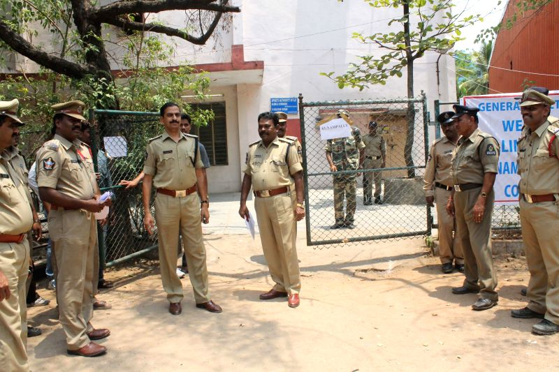 Security personnel deployed outside Lal Bahadur Stadium where a strong room has been setup to store EVMs (Electronic Voting Machines) in Hyderabad on May 1, 2014.